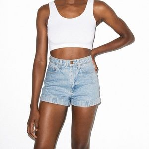 American Apparel Denim High-Waist Cuff Short